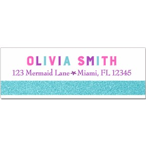 mermaid return address labels by that party chick pink and purple
