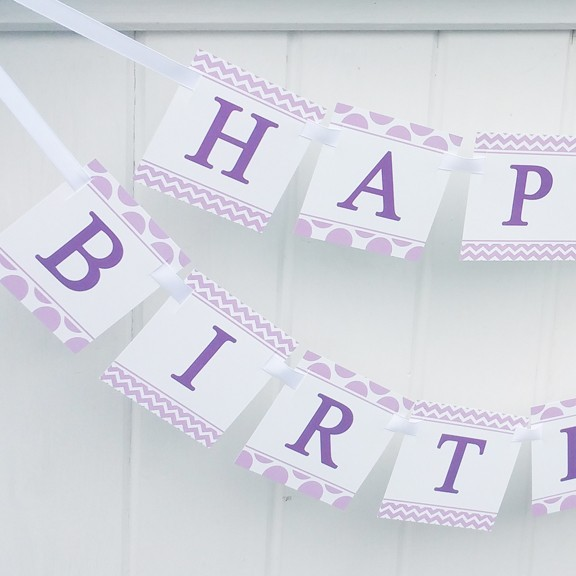 Lavender Chevron Dots Happy Birthday Banner By That Party Chick