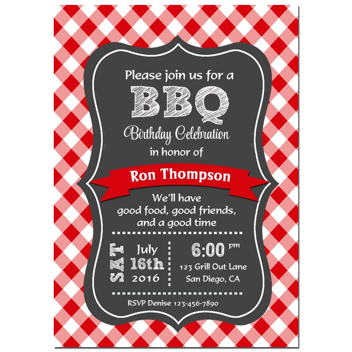 Red Gingham Barbeque Invitation By That Party Chick Barbeque