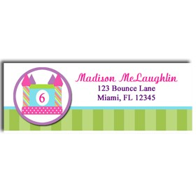 bounce house return address labels by that party chick rainbow
