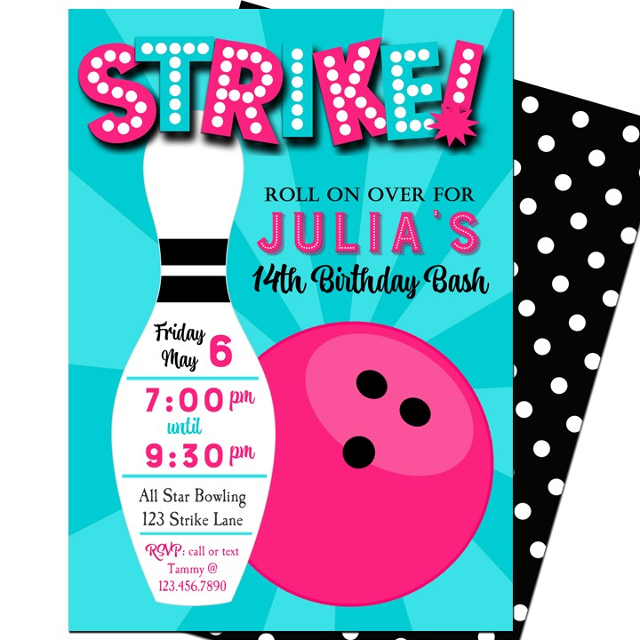 strike  bowling party invitation by that party chick