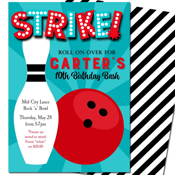 strike bowling party invitation by that party chick boy bowling