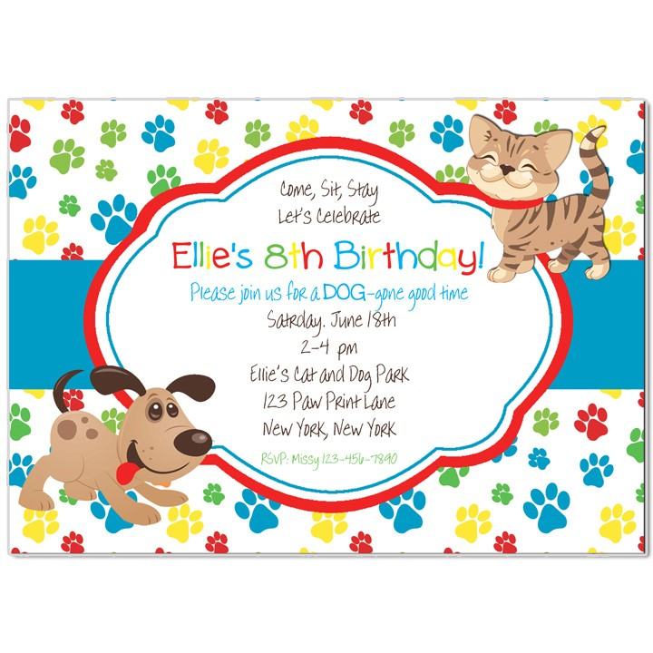 Cat And Puppy Dog Party Invitation By That Chick
