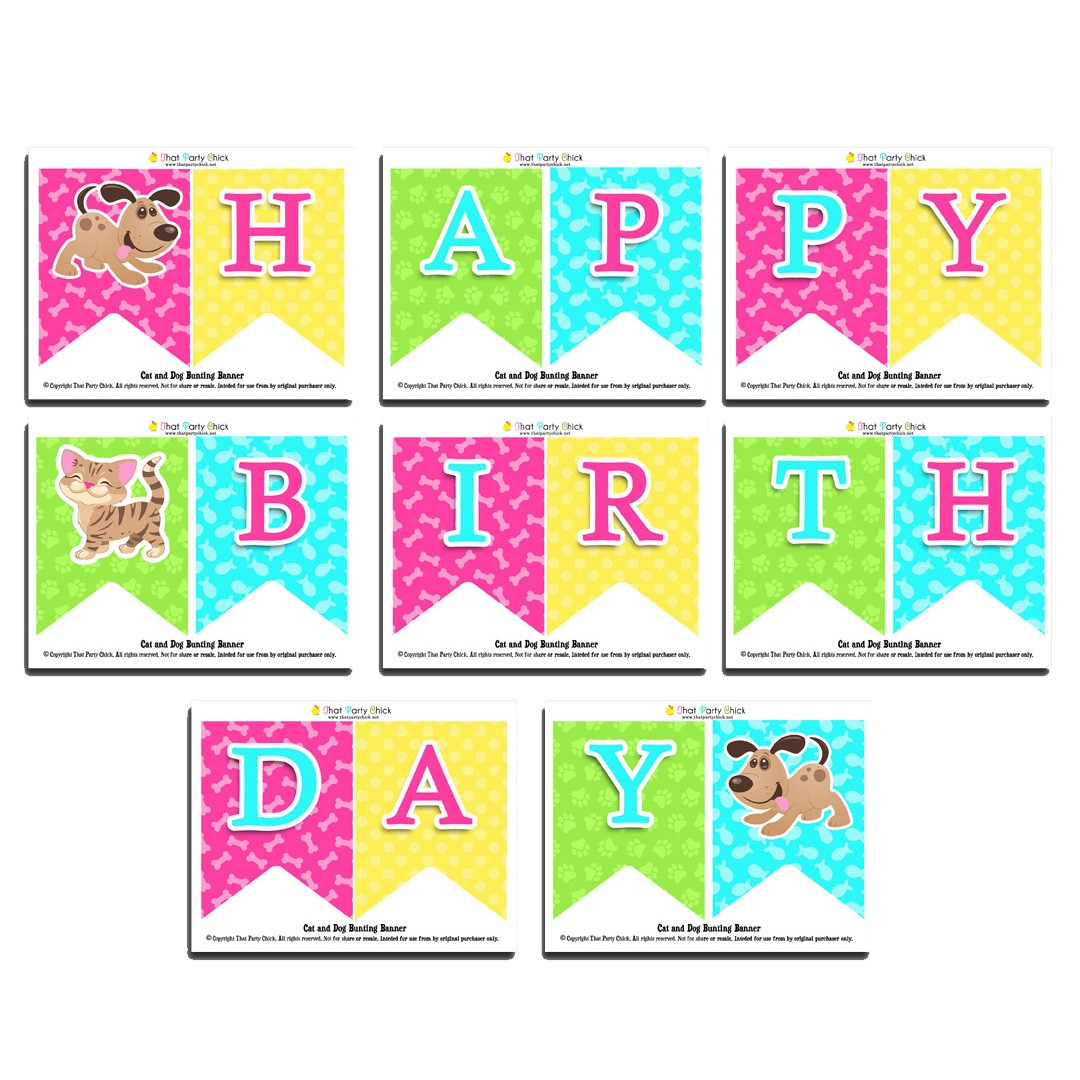 """Cat Birthday Banner: Cat And Dog Party """"Happy Birthday"""" Banner By That Party"""