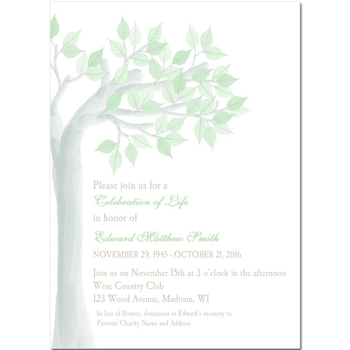 celebration of life memorial invitation by that party chick green