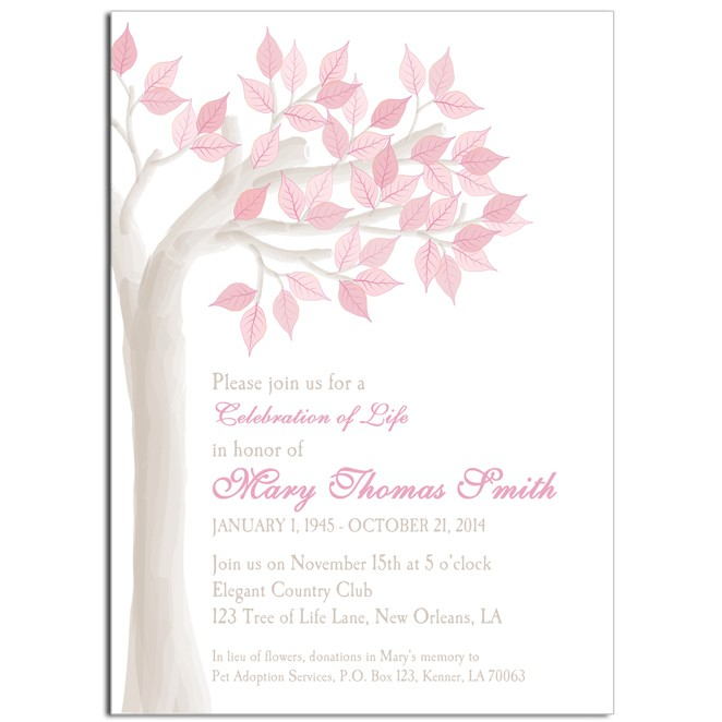 celebration of life memorial invitation by that party chick pink