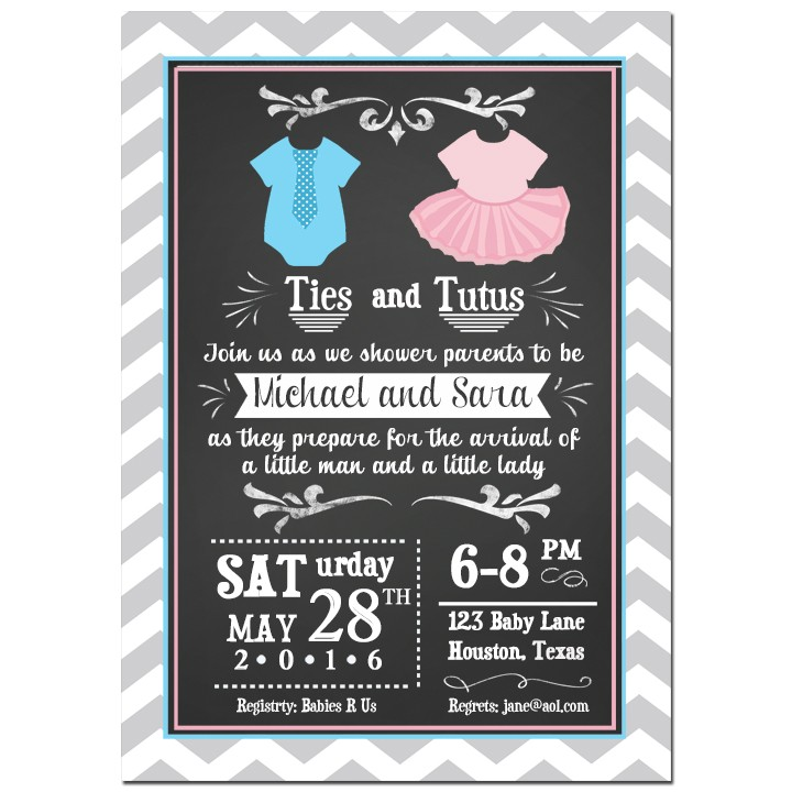 Ties And Tutus Twin Baby Shower Invitation By That Party Chick