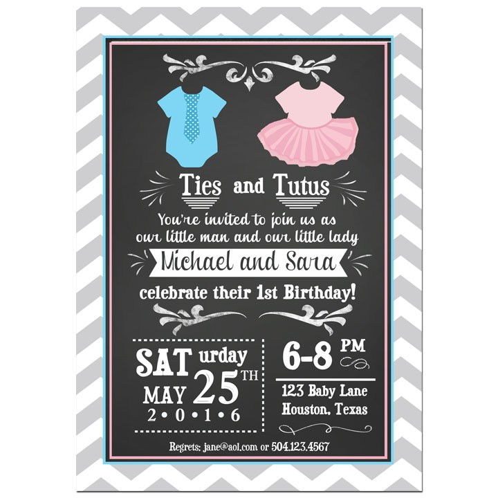 Well-liked Ties and Tutus Chalkboard Pink and Blue Twin First Birthday  CH72