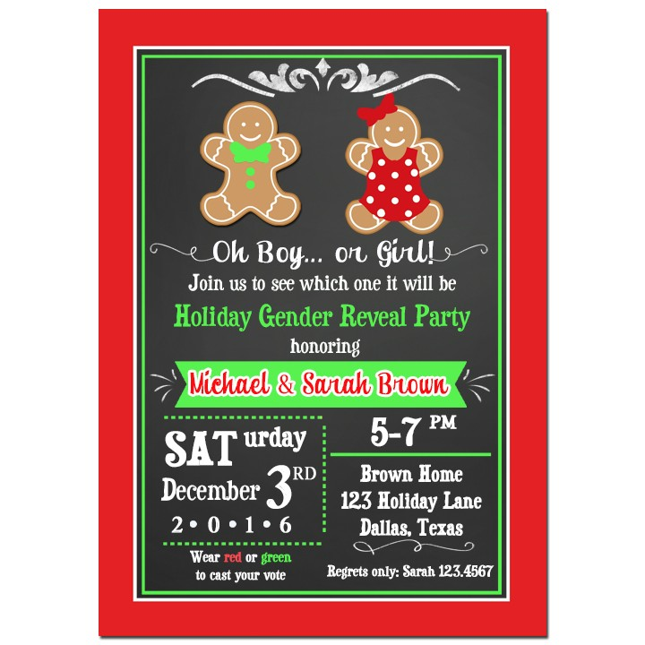 Christmas Gender Reveal Invitation By That Party Chick Ginger Kids