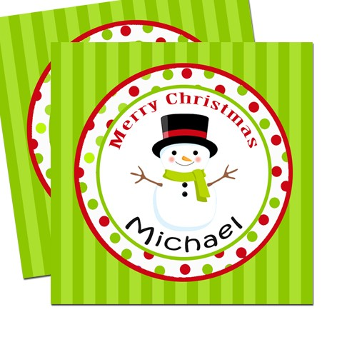 "Christmas Gift Background: Snowman With Green Stripe Background 2.5"" Christmas Gift Tags"