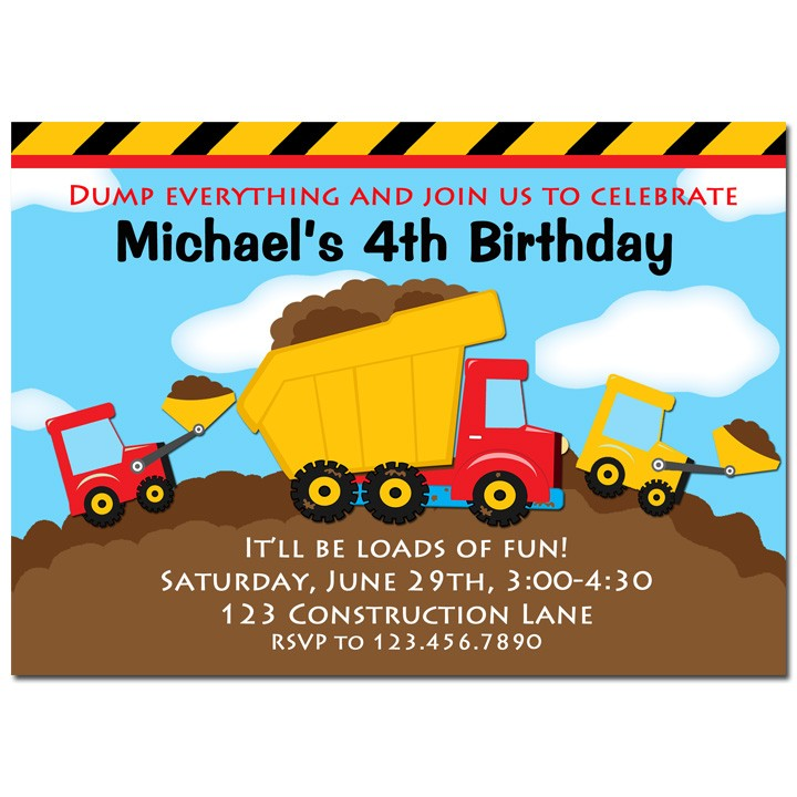construction party invitation by that party chick dump truck