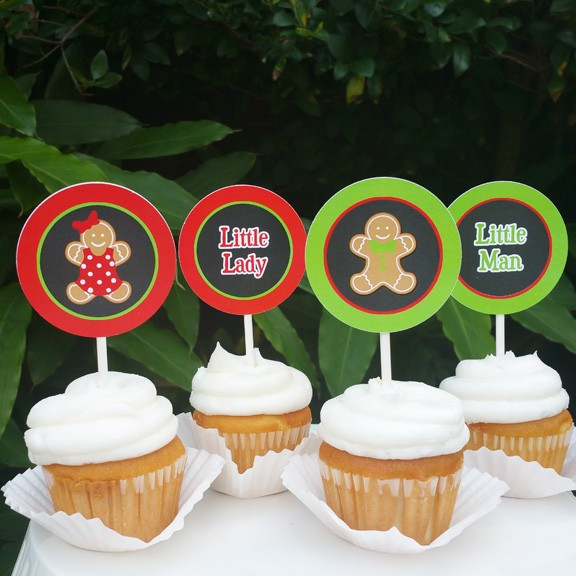 Christmas Gender Reveal Cupcake Toppers By That Party Chick Ginger
