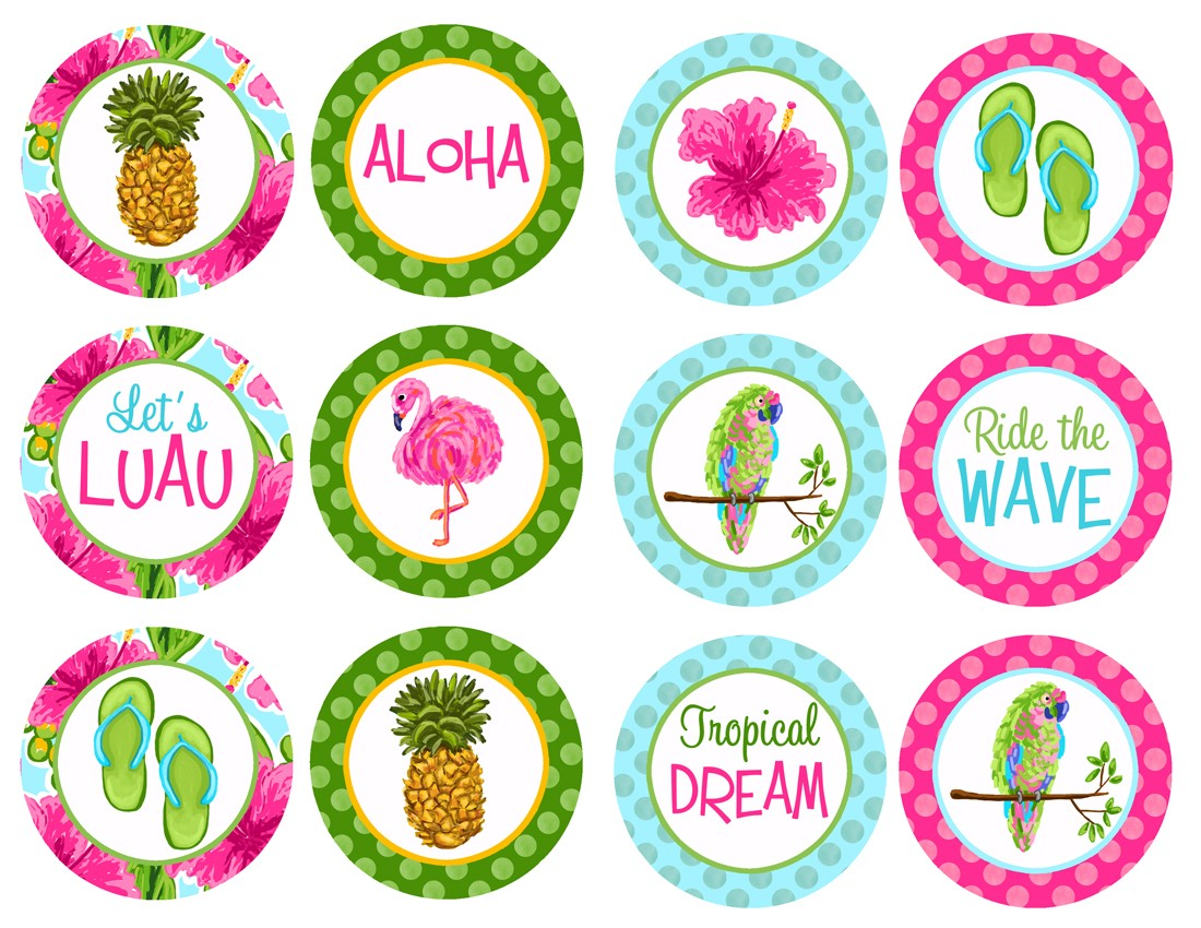 Luau Pink Hibiscus Cupcake Toppers By That Party Chick Watercolor
