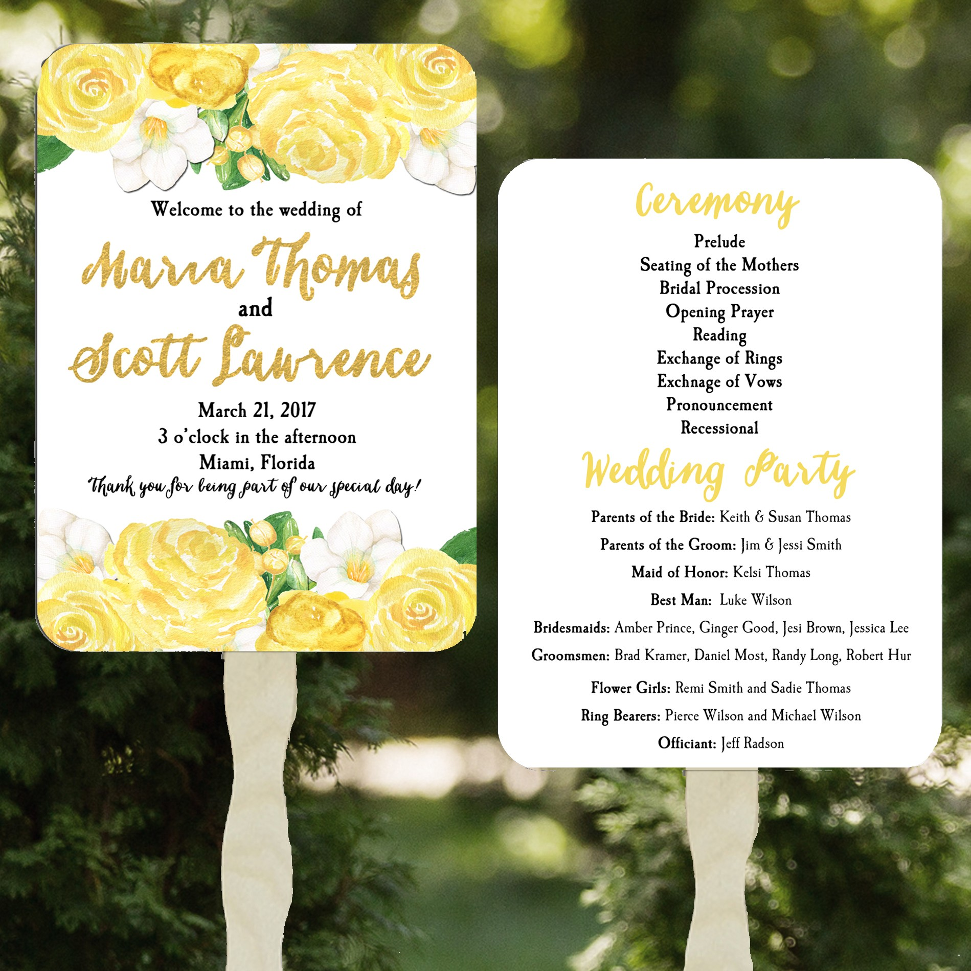 Wedding White And Yellow: Yellow Roses Wedding Program Fan By That Party Chick