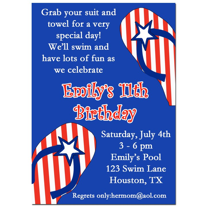 red white and blue flip flop pool party invitation by that party chick