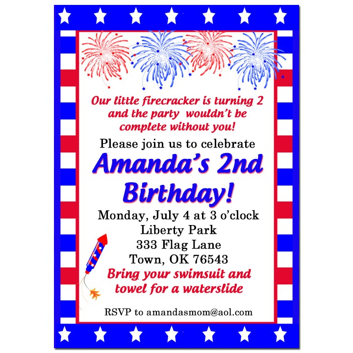 red white and blue fireworks party invitation by that party chick
