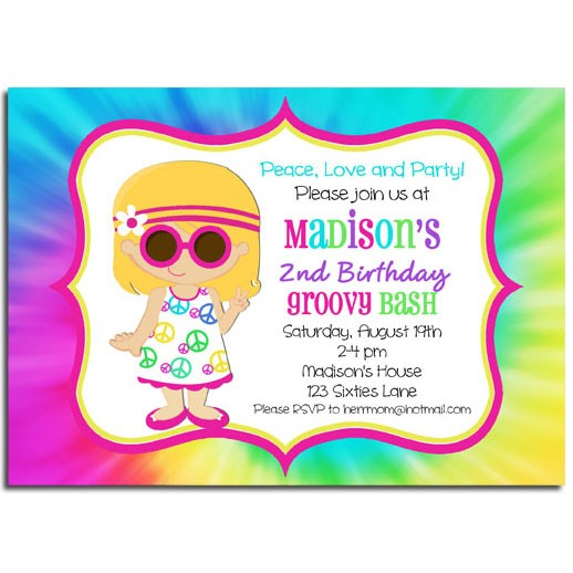 Sixties Peace Love Groovy Invitation By That Party Chick