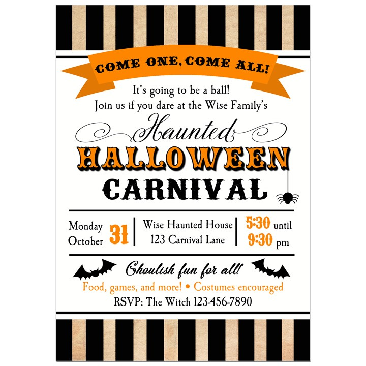 halloween carnival party invitation by that party chick big top stripe