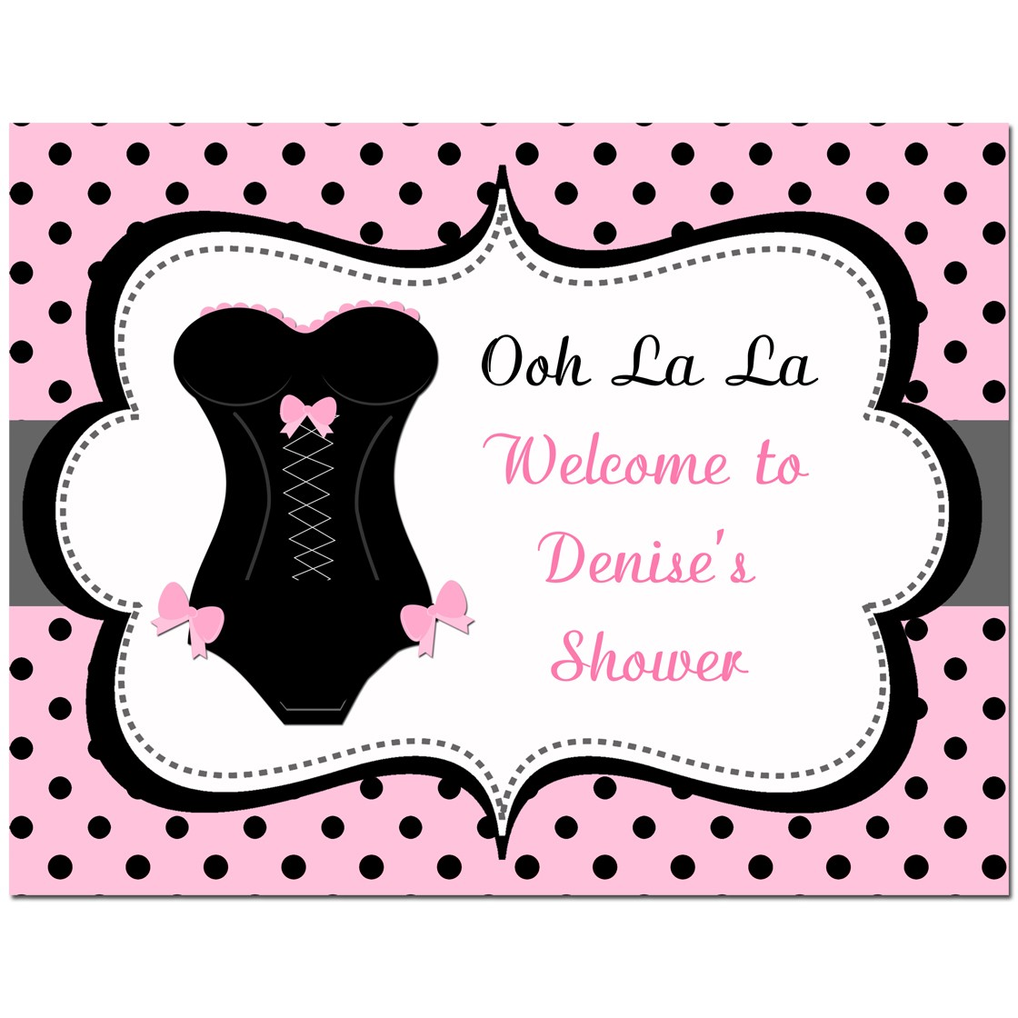 corset lingerie bridal shower door sign