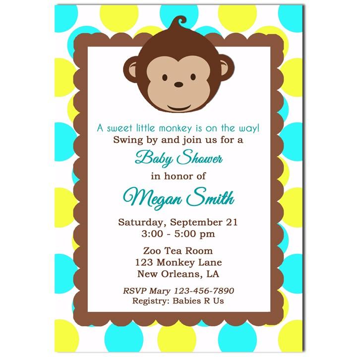 Mod Monkey Boy Birthday Party Or Baby Shower Invitation By That