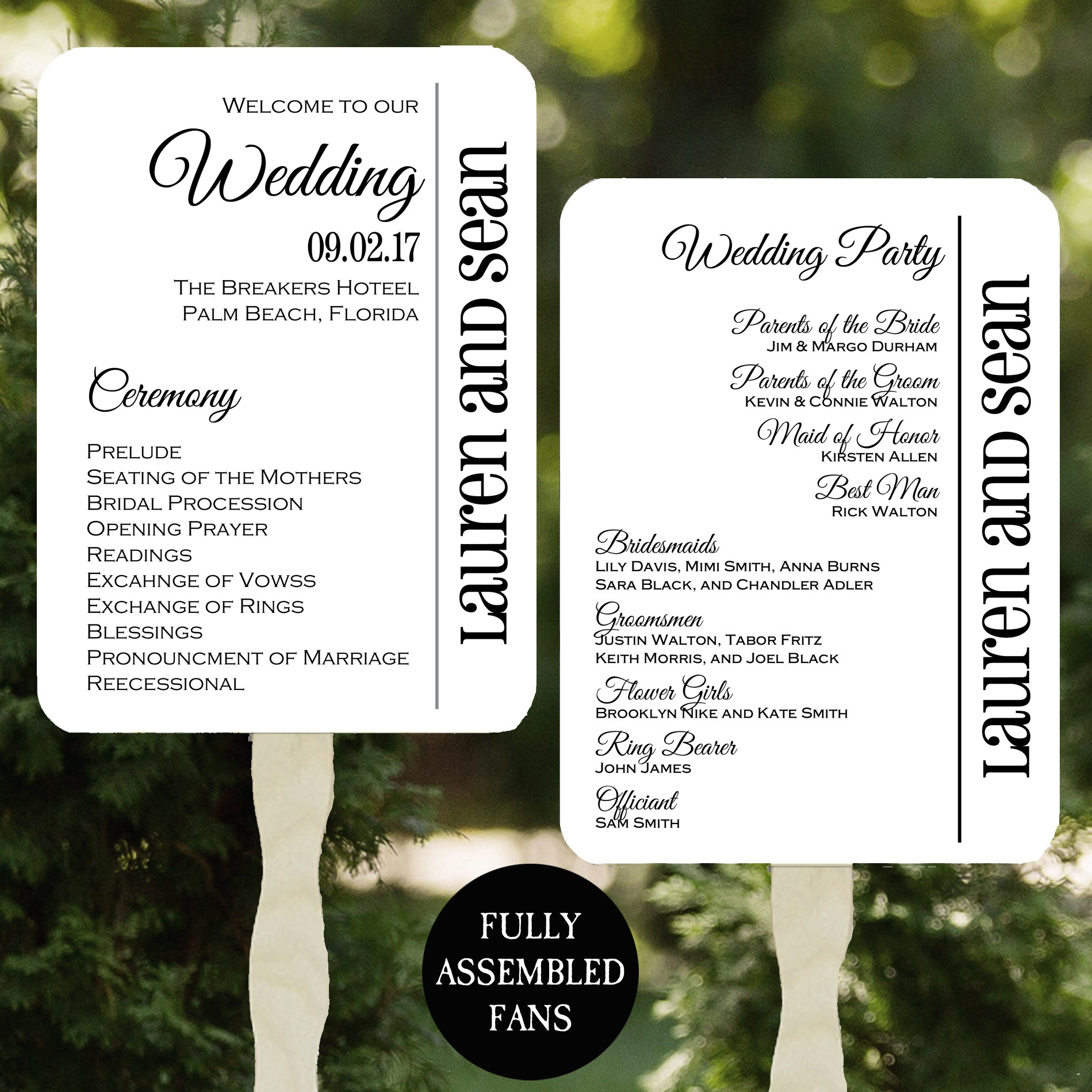 Wedding Gold Collection Wedding Program Petal Fans Gold Assembled Set of 50