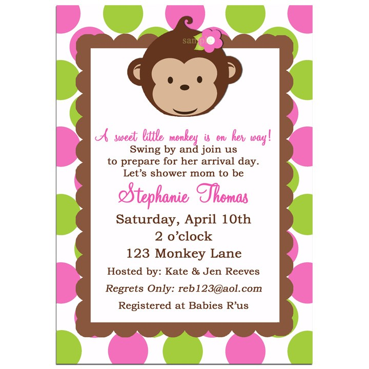 Mod Monkey Girl Birthday Party Or Baby Shower Invitation By That