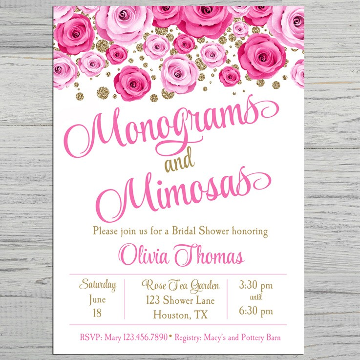 8d0078dc7243 Monograms and Mimosas Bridal Shower or Birthday Party Invitation by ...