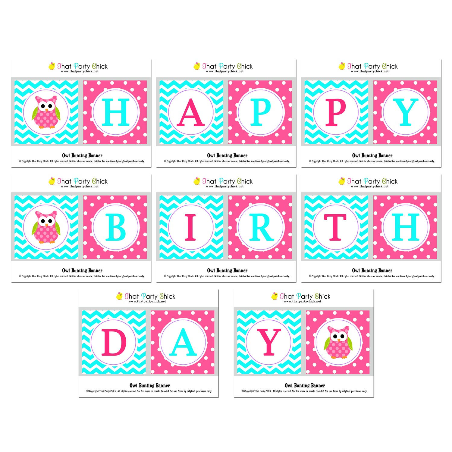 """Owl """"Happy Birthday"""" Banner by That Party Chick - Pink Lil ..."""