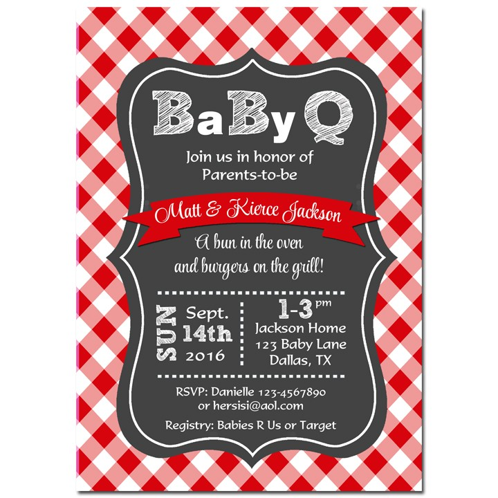 Red Baby Q Baby Shower Invitation By That Party Chick