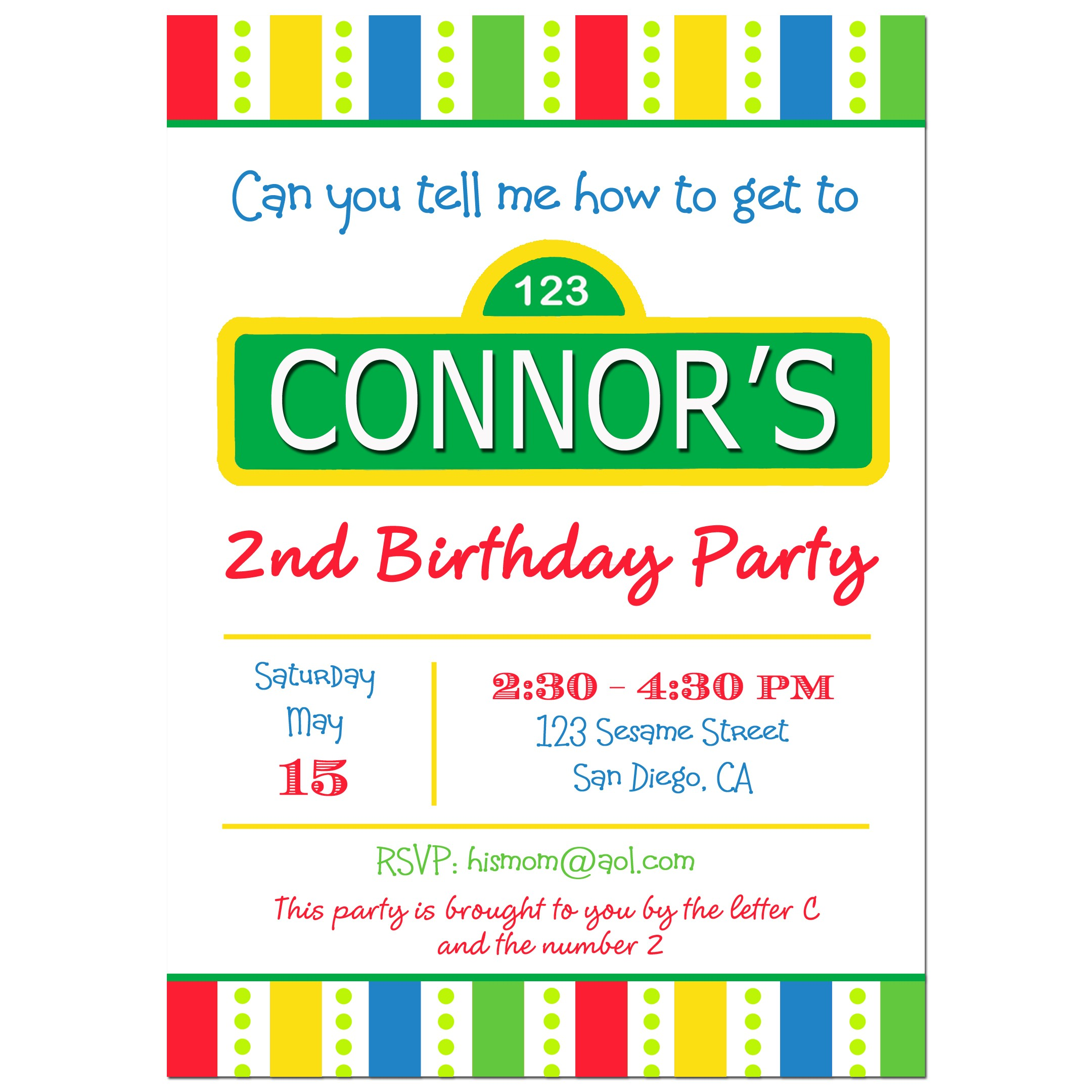 Sesame Street Inspired Birthday Party Invitation