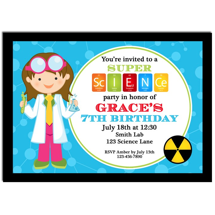 girl science party invitation by that party chick
