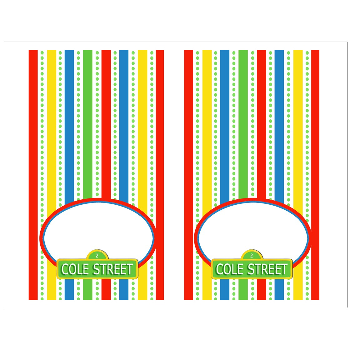 sesame street inspired tent style food and drink labels by that
