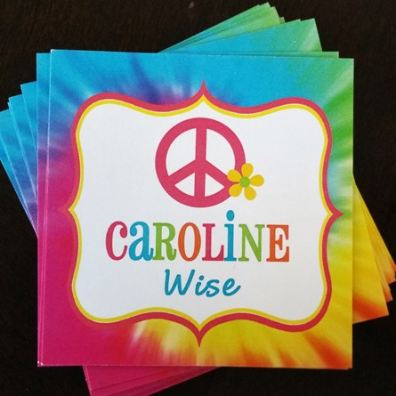 Tie Dye Calling Cards Gift Stickers Gift Tags Childrens Gift Tags