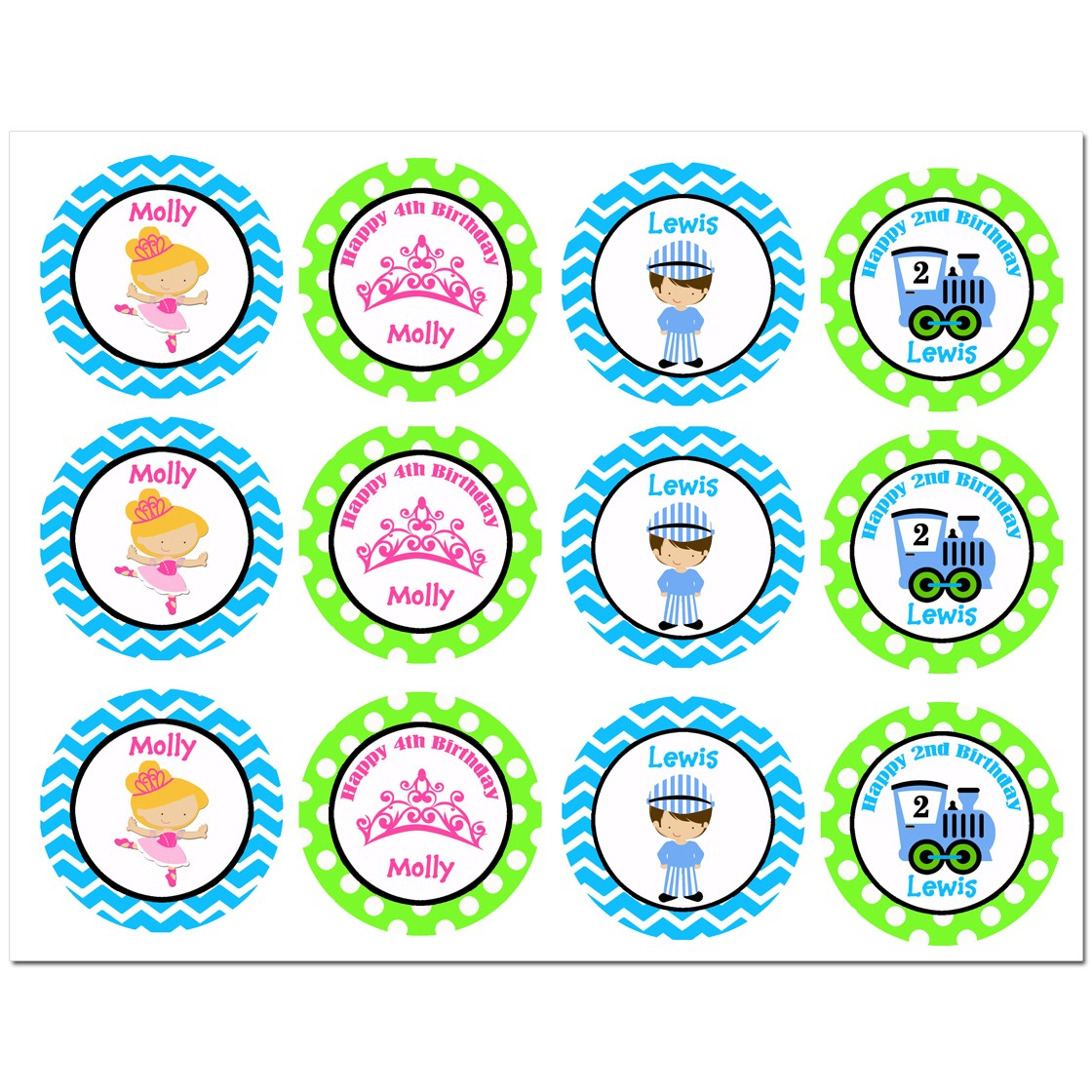 ballerina train party cupcake toppers by that party chick