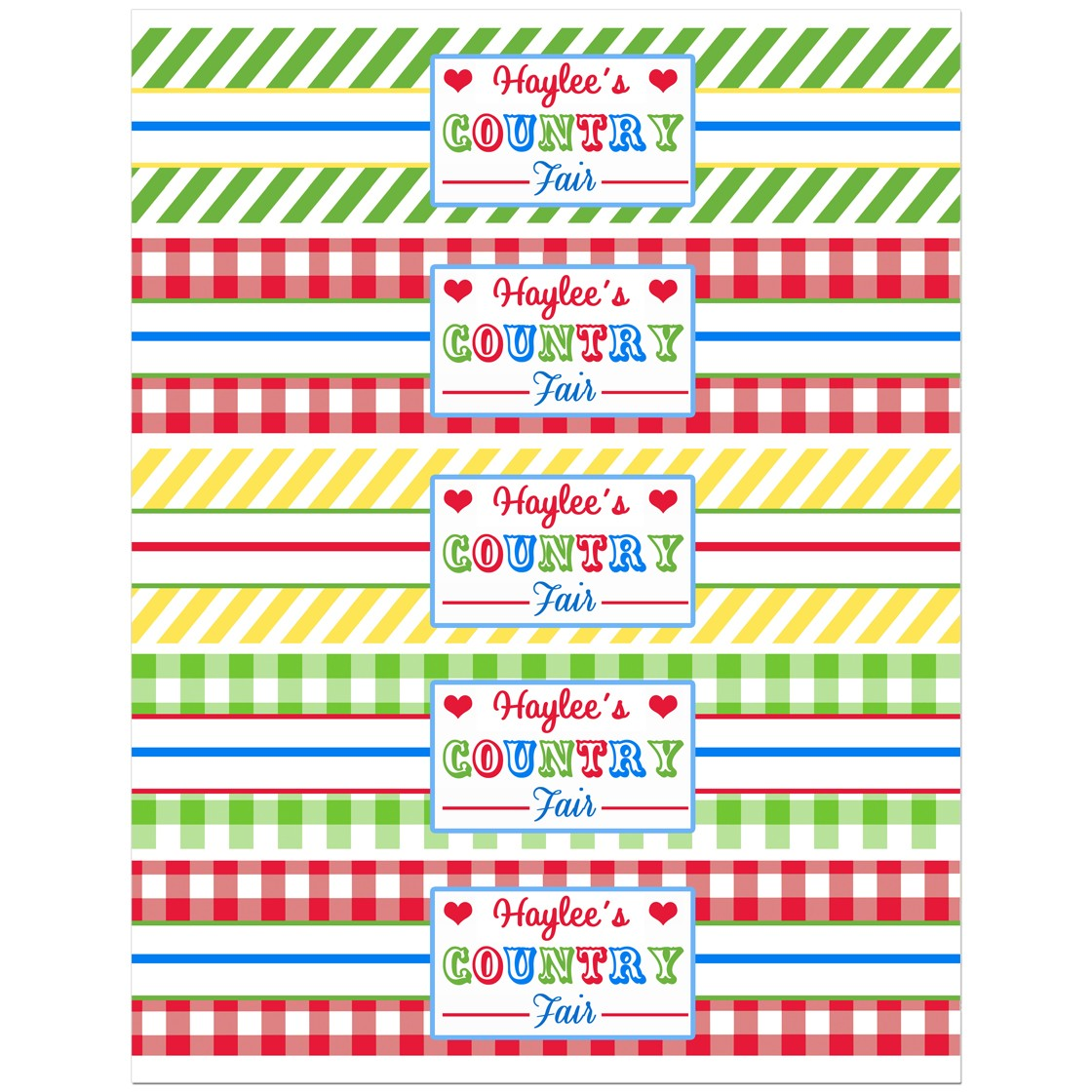 Country at Heart Collection Country Count Fair Water Bottle Labels Printable or Printed with FREE Shipping