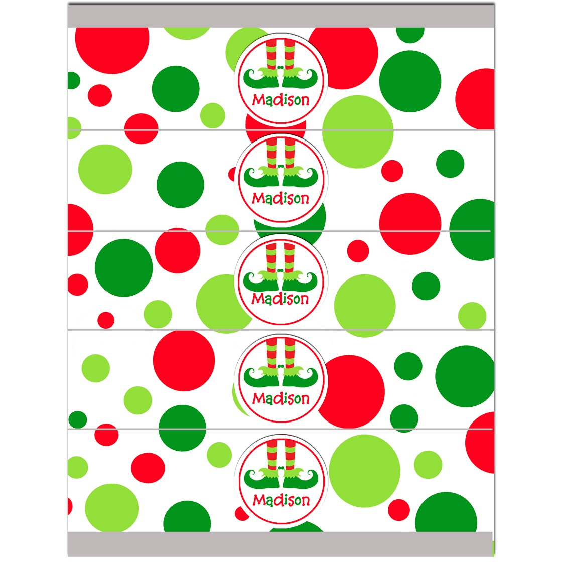 Christmas Elf Feet Personalized Water Bottle Labels by ...
