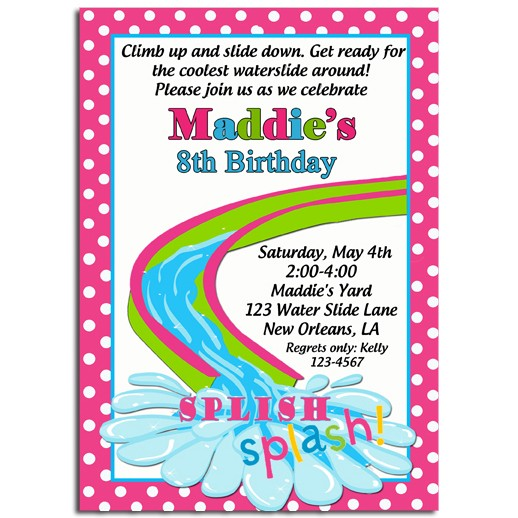 Girls Water Slide Party Invitation