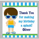Boy's Pool Party Favor Tags - Pool Boy Swim Collection