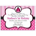 Pink Ladybug Party Invitation - Pink Ladybug Collection