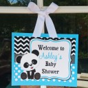 Panda Party Personalized Door Sign