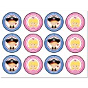 Pirate and Princess Sibling Birthday Party Cupcake Toppers
