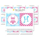 """Girl's Pool Party """"Happy Birthday"""" Banner - Pink Polka Dot Swim Collection"""