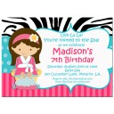Spa Girl Party Invitation - Sweet Zebra Spa Girl Collection